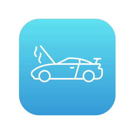 overheat: Broken car with open hood line icon for web, mobile and infographics. Vector white icon on the blue gradient square with rounded corners isolated on white background.