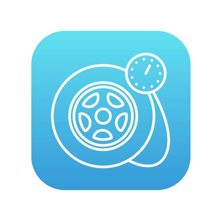 pressure gauge: Pressure gauge tyre  line icon for web, mobile and infographics. Vector white icon on the blue gradient square with rounded corners isolated on white background.