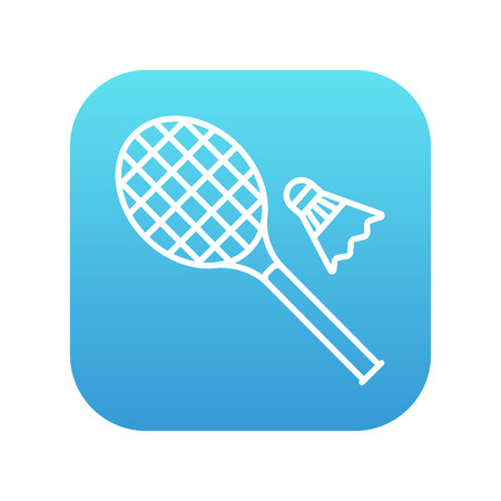 battledore: Shuttlecock and badminton racket line icon for web, mobile and infographics. Vector white icon on the blue gradient square with rounded corners isolated on white background.