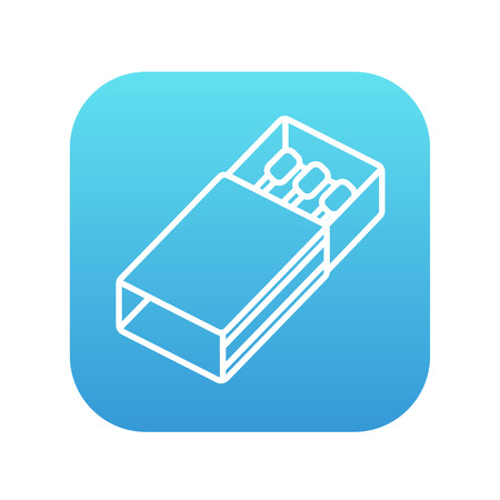 matchbox: Matchbox line icon for web, mobile and infographics. Vector white icon on the blue gradient square with rounded corners isolated on white background.