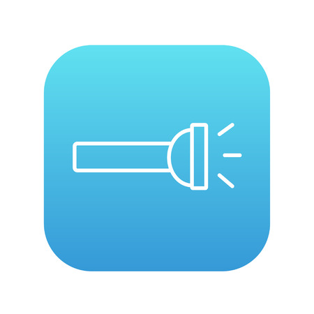 Flashlight line icon for web, mobile and infographics. Vector white icon on the blue gradient square with rounded corners isolated on white background.