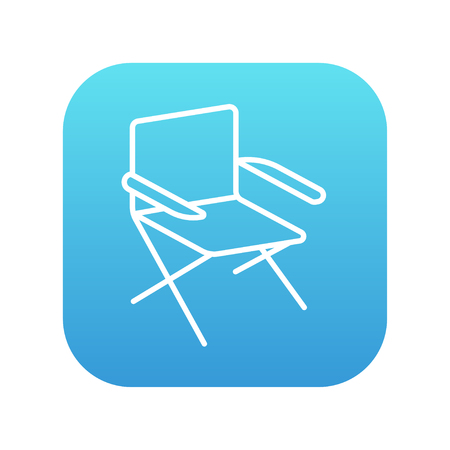 foldable: Folding chair line icon for web, mobile and infographics. Vector white icon on the blue gradient square with rounded corners isolated on white background. Illustration