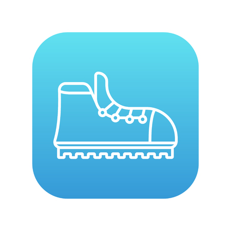 crampons: Hiking boot with crampons line icon for web, mobile and infographics. Vector white icon on the blue gradient square with rounded corners isolated on white background. Illustration