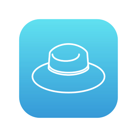Summer hat line icon for web, mobile and infographics. Vector white icon on the blue gradient square with rounded corners isolated on white background. Ilustração