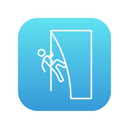 Rock climber climbing an overhanging cliff line icon for web, mobile and infographics. Vector white icon on the blue gradient square with rounded corners isolated on white background. 向量圖像