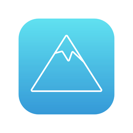 Mountain line icon for web, mobile and infographics. Vector white icon on the blue gradient square with rounded corners isolated on white background.