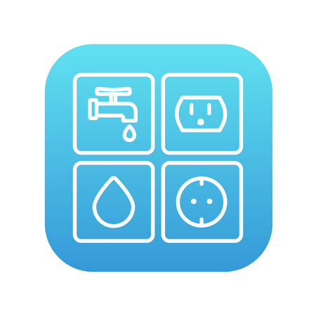utilities: Utilities signs electricity and water line icon for web, mobile and infographics. Vector white icon on the blue gradient square with rounded corners isolated on white background.