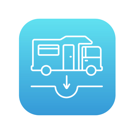 sump: Motorhome and sump line icon for web, mobile and infographics. Vector white icon on the blue gradient square with rounded corners isolated on white background.