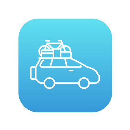 mini bike: Car with bicycle mounted to the roof line icon for web, mobile and infographics. Vector white icon on the blue gradient square with rounded corners isolated on white background.