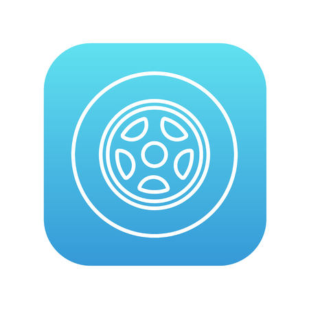 ring road: Car wheel line icon for web, mobile and infographics. Vector white icon on the blue gradient square with rounded corners isolated on white background.