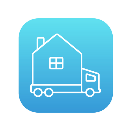 motorhome: Motorhome line icon for web, mobile and infographics. Vector white icon on the blue gradient square with rounded corners isolated on white background.