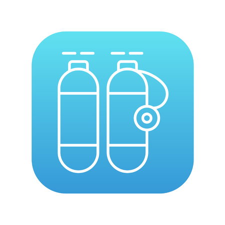 pressure bottle: Oxygen tank line icon for web, mobile and infographics. Vector white icon isolated on red background.