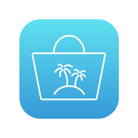 beach bag: Beach bag line icon for web, mobile and infographics. Vector white icon on the blue gradient square with rounded corners isolated on white background. Illustration