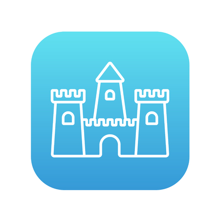Sandcastle line icon for web, mobile and infographics. Vector white icon on the blue gradient square with rounded corners isolated on white background.  イラスト・ベクター素材