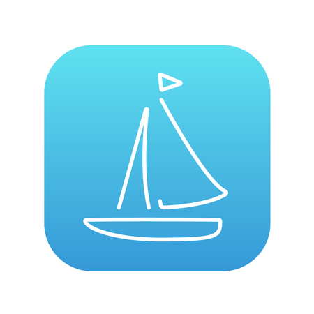 Sailboat line icon for web, mobile and infographics. Vector white icon on the blue gradient square with rounded corners isolated on white background. Ilustracja
