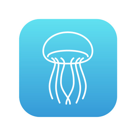 stingers: Jellyfish line icon for web, mobile and infographics. Vector white icon on the blue gradient square with rounded corners isolated on white background. Illustration