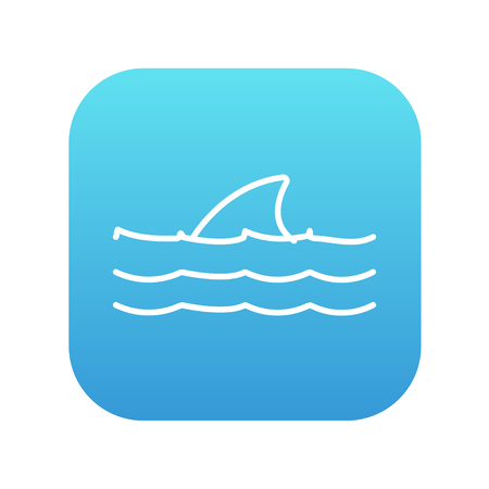 dorsal: Dorsal shark fin above water line icon for web, mobile and infographics. Vector white icon on the blue gradient square with rounded corners isolated on white background.