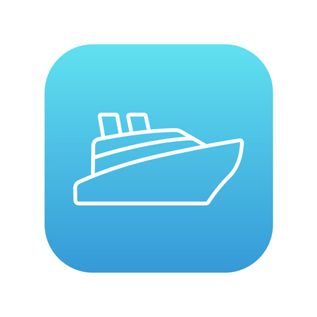 Cruise ship line icon for web, mobile and infographics. Vector white icon on the blue gradient square with rounded corners isolated on white background.