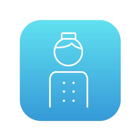 Icône de la ligne Bellboy pour le web, le mobile et infographies. Vector blanc icône sur le carré dégradé bleu avec coins arrondis isolé sur fond blanc. Banque d'images - 49740669