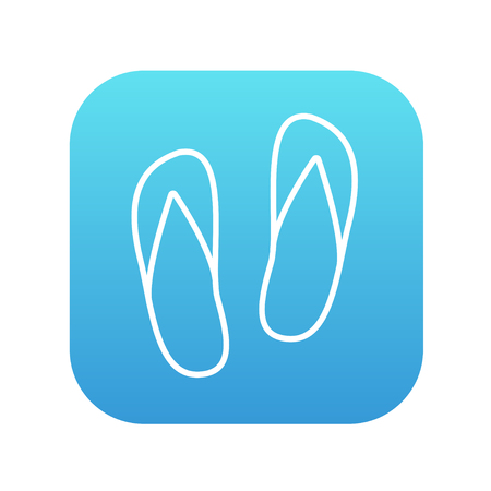 flipflop: Beach slipper line icon for web, mobile and infographics. Vector white icon on the blue gradient square with rounded corners isolated on white background.