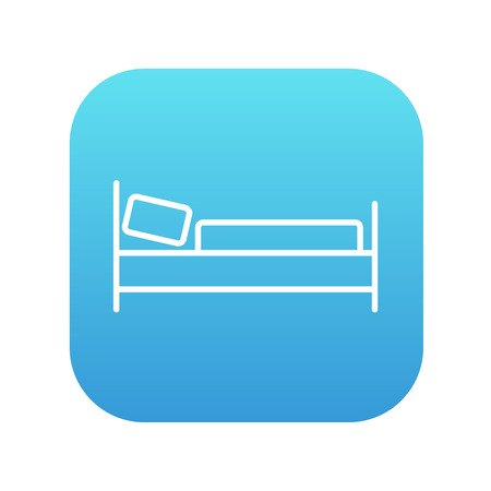 Bed line icon for web, mobile and infographics. Vector white icon on the blue gradient square with rounded corners isolated on white background.