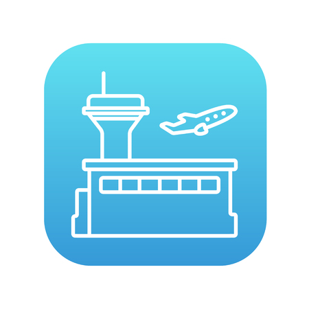 taking off: Plane taking off line icon for web, mobile and infographics. Vector white icon on the blue gradient square with rounded corners isolated on white background.