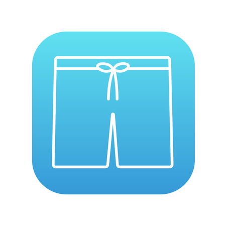 beachwear: Swimming trunks line icon for web, mobile and infographics. Vector white icon on the blue gradient square with rounded corners isolated on white background.