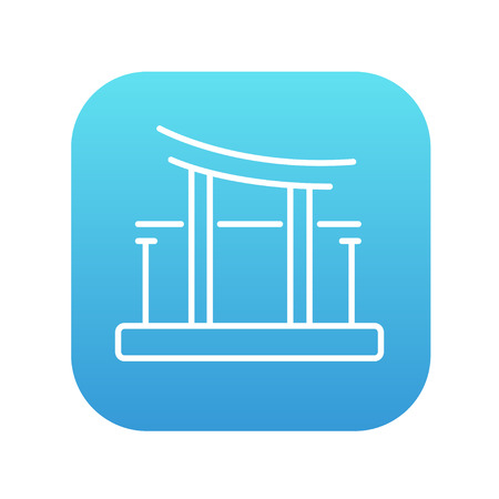 torii: Torii gate line icon for web, mobile and infographics. Vector white icon on the blue gradient square with rounded corners isolated on white background.
