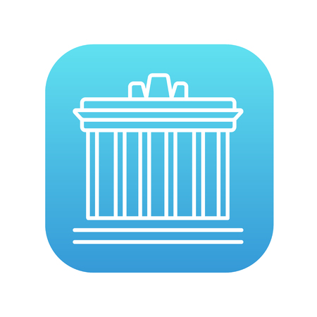the acropolis: Acropolis of Athens line icon for web, mobile and infographics. Vector white icon on the blue gradient square with rounded corners isolated on white background.