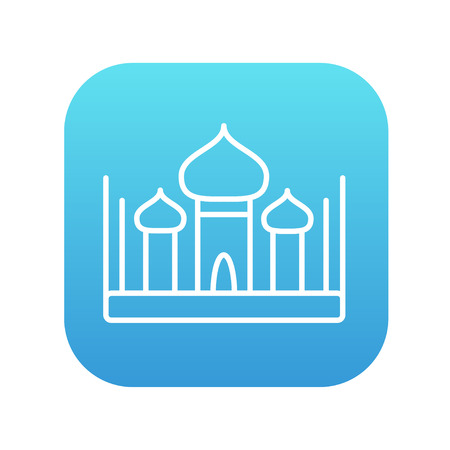 Mosque line icon for web, mobile and infographics. Vector white icon on the blue gradient square with rounded corners isolated on white background.