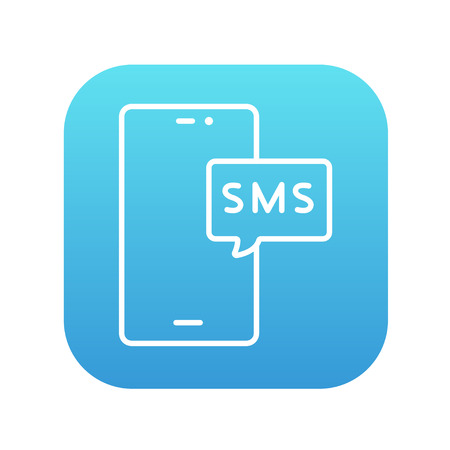 recieve: Smartphone with message line icon for web, mobile and infographics. Vector white icon on the blue gradient square with rounded corners isolated on white background.