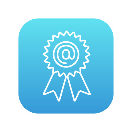 Award with an at sign line icon for web, mobile and infographics. Vector white icon on the blue gradient square with rounded corners isolated on white background.