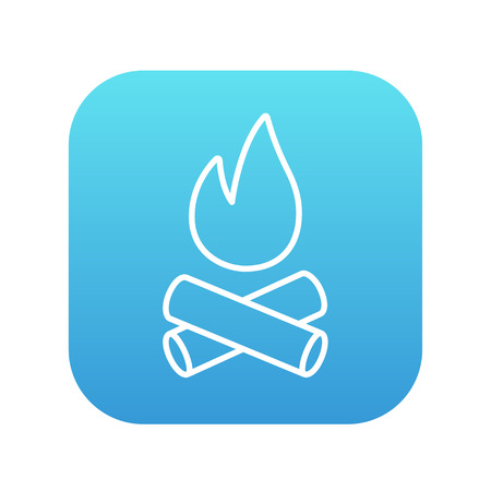 Campfire line icon for web, mobile and infographics. Vector white icon on the blue gradient square with rounded corners isolated on white background.