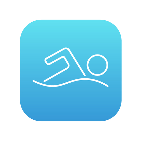 Swimmer line icon for web, mobile and infographics. Vector white icon on the blue gradient square with rounded corners isolated on white background.