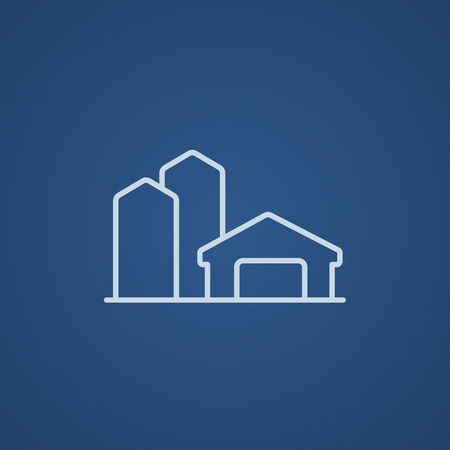 Farm buildings line icon for web, mobile and infographics. Vector light blue icon isolated on blue background.