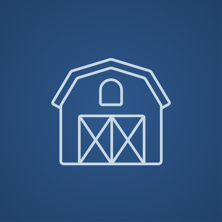 farm building: Farm building line icon for web, mobile and infographics. Vector light blue icon isolated on blue background.