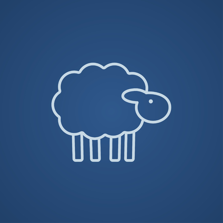 farmyard: Sheep line icon for web, mobile and infographics. Vector light blue icon isolated on blue background.