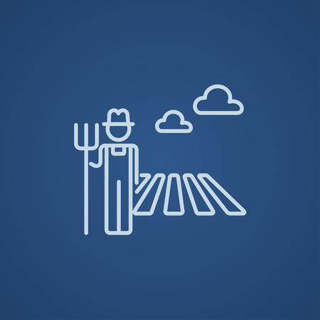 rancher: Farmer with pitchfork standing on the field line icon for web, mobile and infographics. Vector light blue icon isolated on blue background.