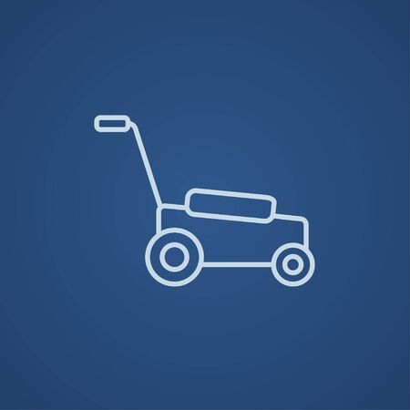 push mower: Lawnmover line icon for web, mobile and infographics. Vector light blue icon isolated on blue background. Illustration
