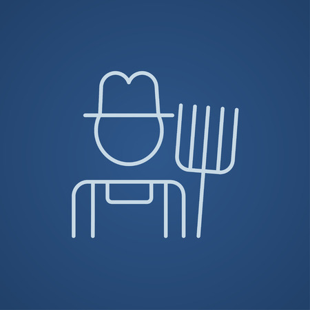 villager: Farmer with pitchfork line icon for web, mobile and infographics. Vector light blue icon isolated on blue background.