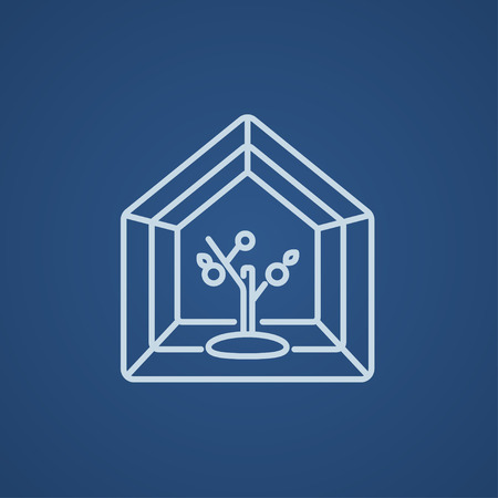 Greenhouse line icon for web, mobile and infographics. Vector light blue icon isolated on blue background.