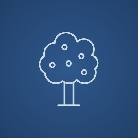 Fruit tree line icon for web, mobile and infographics. Vector light blue icon isolated on blue background. Vettoriali