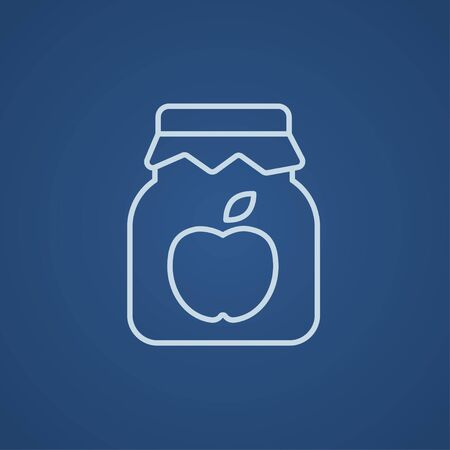 Apple jam jar line icon for web, mobile and infographics. Vector light blue icon isolated on blue background. Çizim