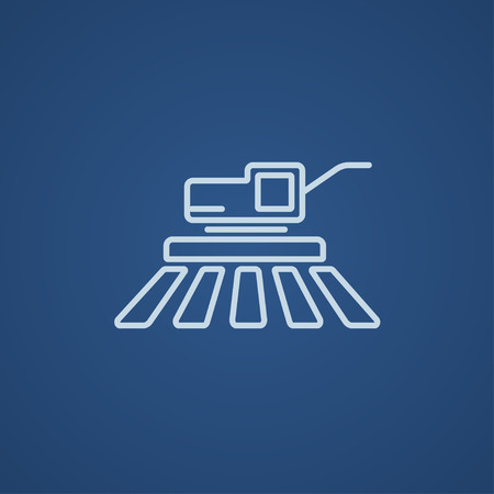 harvester: Combine harvester line icon for web, mobile and infographics. Vector light blue icon isolated on blue background.