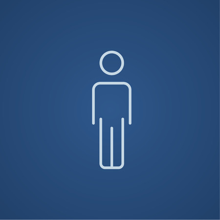 fullbody: Businessman standing  line icon for web, mobile and infographics. Vector light blue icon isolated on blue background.