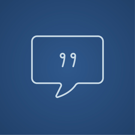 chat: Speech bubble with commas inside line icon for web, mobile and infographics. Vector light blue icon isolated on blue background. Illustration