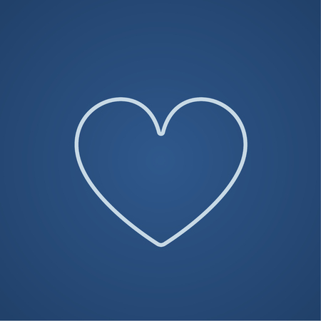 Heart sign line icon for web, mobile and infographics. Vector light blue icon isolated on blue background. Ilustracja