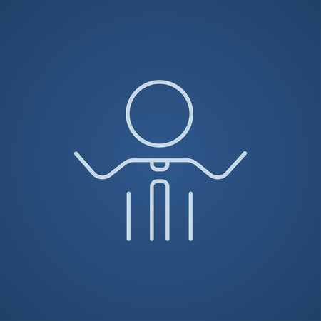 Man with raised arms line icon for web, mobile and infographics. Vector light blue icon isolated on blue background.