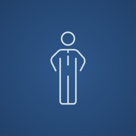 standing in line: Businessman standing line icon for web, mobile and infographics. Vector light blue icon isolated on blue background.