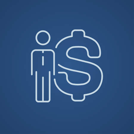 fullbody: Businessman standing beside the dollar symbol line icon for web, mobile and infographics. Vector light blue icon isolated on blue background.
